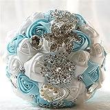 Fouriding Bouquet Nupcial de la Boda Ramo de Flores Rose Ribbon con Cuentas Rhinestone Decoración del Hogar Suministros de la Boda (Azul-Blanca)