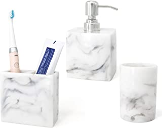 LUANT Resin 3 PCS Bathroom Set Including Soap Dispenser with Stainless Stell Pump, Electric Toothbrush Holder and Tumbler