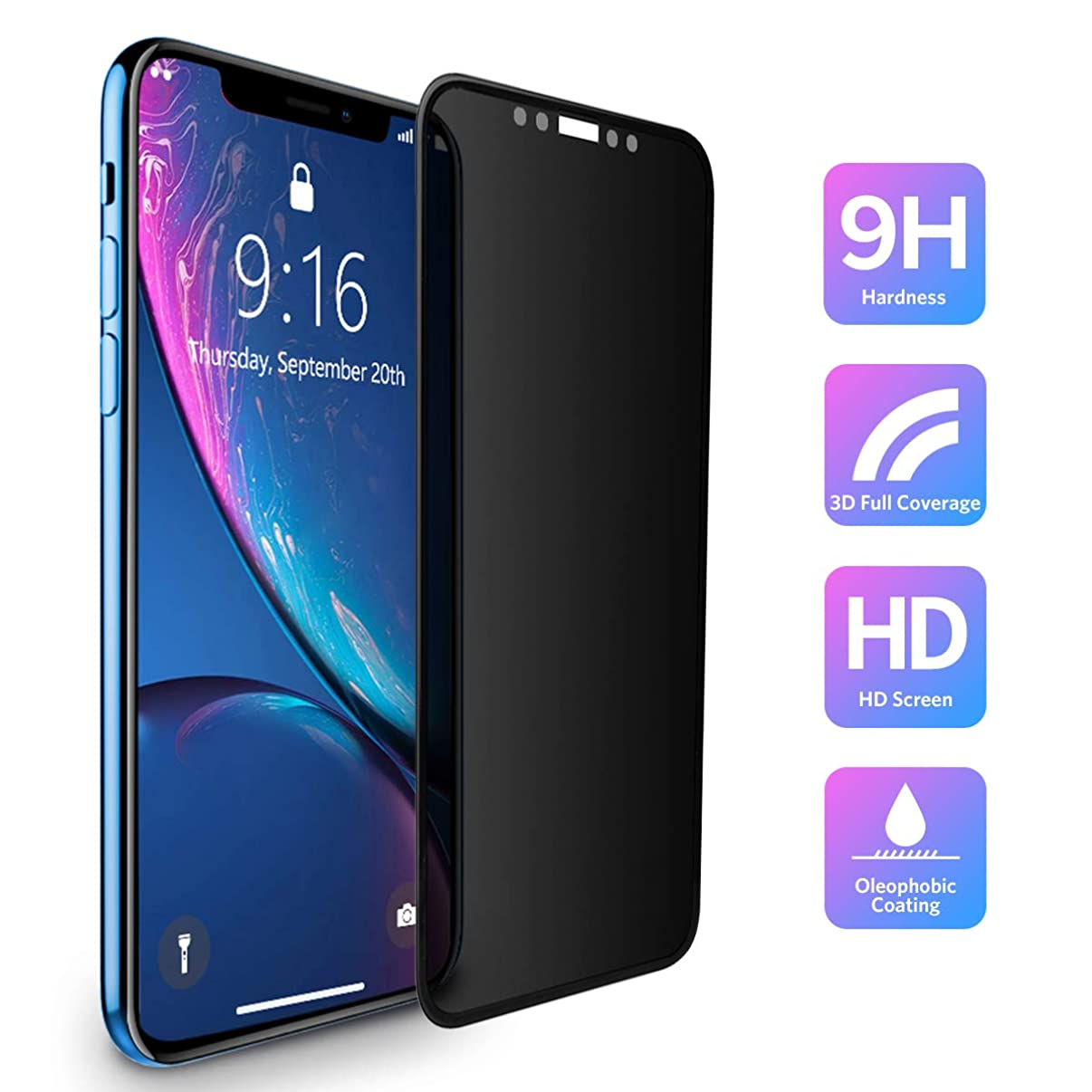 iPhone XR Privacy Screen Protector Tempered Glass(6.1-Inch) Benks Anti-Spy 3D Curve Edge Full Coverage Protective Film with 0.3mm 9H (Compatible with Apple iPhone XR, Black)