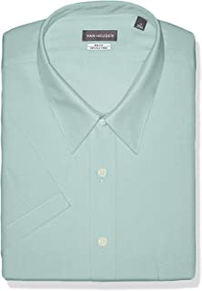 Van Heusen Men's FIT Short Sleeve Dress Shirts Poplin Solid (Big and Tall)