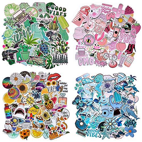206Pcs Mixed Cute VSCO Stickers, Waterproof Vinyl Stickers, Trendy Aesthetic Stickers for Laptop, Phone, Skateboard, Hydro Flask, Luggage