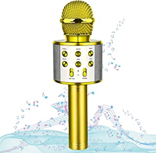 HahaGift Toys Birthday Gifts for 3 4 5 6 7 8 9 Year Old Girls, Bluetooth Karaoke Microphone for Kids Toys for 3-14 Year Old Girls Boys Gold