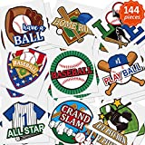 144 Pieces Baseball Temporary Tattoos Baseball Tattoos Sport Themed Ball Themed Tattoos Waterproof Temporary Tattoos Stickers Birthday Party Decoration Supplies for Sporting Fans 9 Styles