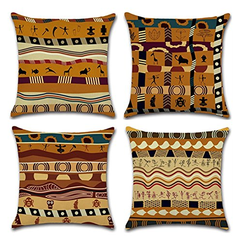 "YANGYULU African Pattern Cotton Linen Home Decorative Throw Pillow Case Sofa Cushion Cover 18"" x 18"" (Set of 4)"