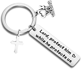 Military Mom Wife Keychain Lord Protect Him While He Protects Us Gift for Soldier Military Wife/Mom