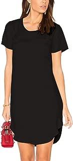 Women's Tunic Casual Plain Simple Short Sleeve T-Shirt Dress