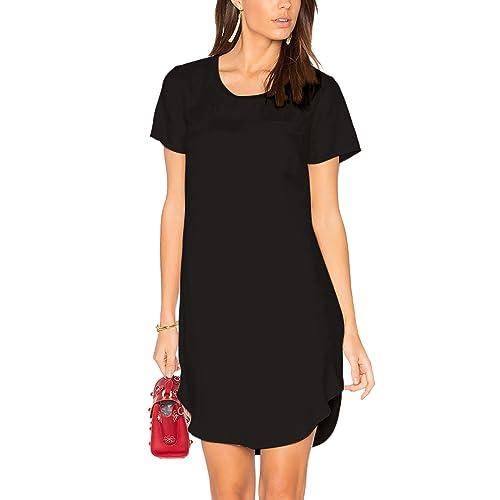 ALLY-MAGIC Women s Tunic Casual Plain Simple Short Sleeve T-Shirt Dress 6387f5fdb