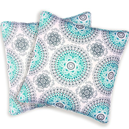 DriftAway Bella Medallion Floral Pattern Decoratio Euro Shams Quilted Throw Pillow Sham Cushion Cover for Bed Sofa or Bench Set of 2 26 by 26 Inches Aqua Gray