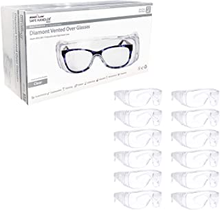 SAFE HANDLER Diamont Vented Over Glasses 12 PAIRS | Meets ANSI Z87.1, Impact Resistant Polycarbonate Lens, 99% UV Protection (1 box/12 Pairs)