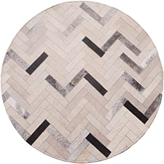 Rugs Rug Round Carpet Luxury Cowhide Couture Slip Easy to Manage Living Room Bedroom Coffee Table Children's Room (Size : Diameter 1.2m)