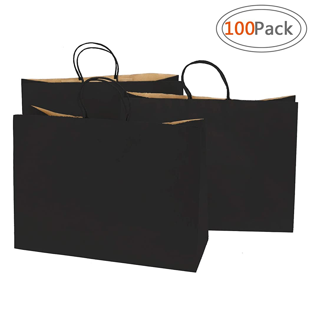 Road 16x6x12 inches 100 Pcs Large Kraft Black Paper Bags with Handles, Shopping, Grocery, Mechandise, Party Bags