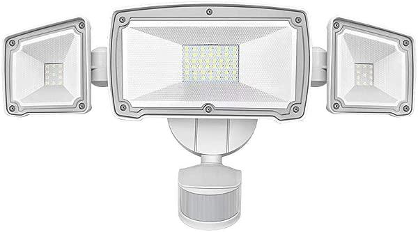 LED Security Lights SONATA Motion Sensor LED Flood Light With 3 Adjustable Heads 42W 4000LM 6000K IP65 Waterproof Super Bright Outdoor Light For Garage Yard Driveway