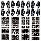 Henna Tattoo Stencils 124 PCS, 24 Sheets Black Tattoo Templates for Women,Reusable Henna Tattoo Kit for Teens Girls,DIY Tattoo Stencils,Body Art Temporary Tattoo Stencils