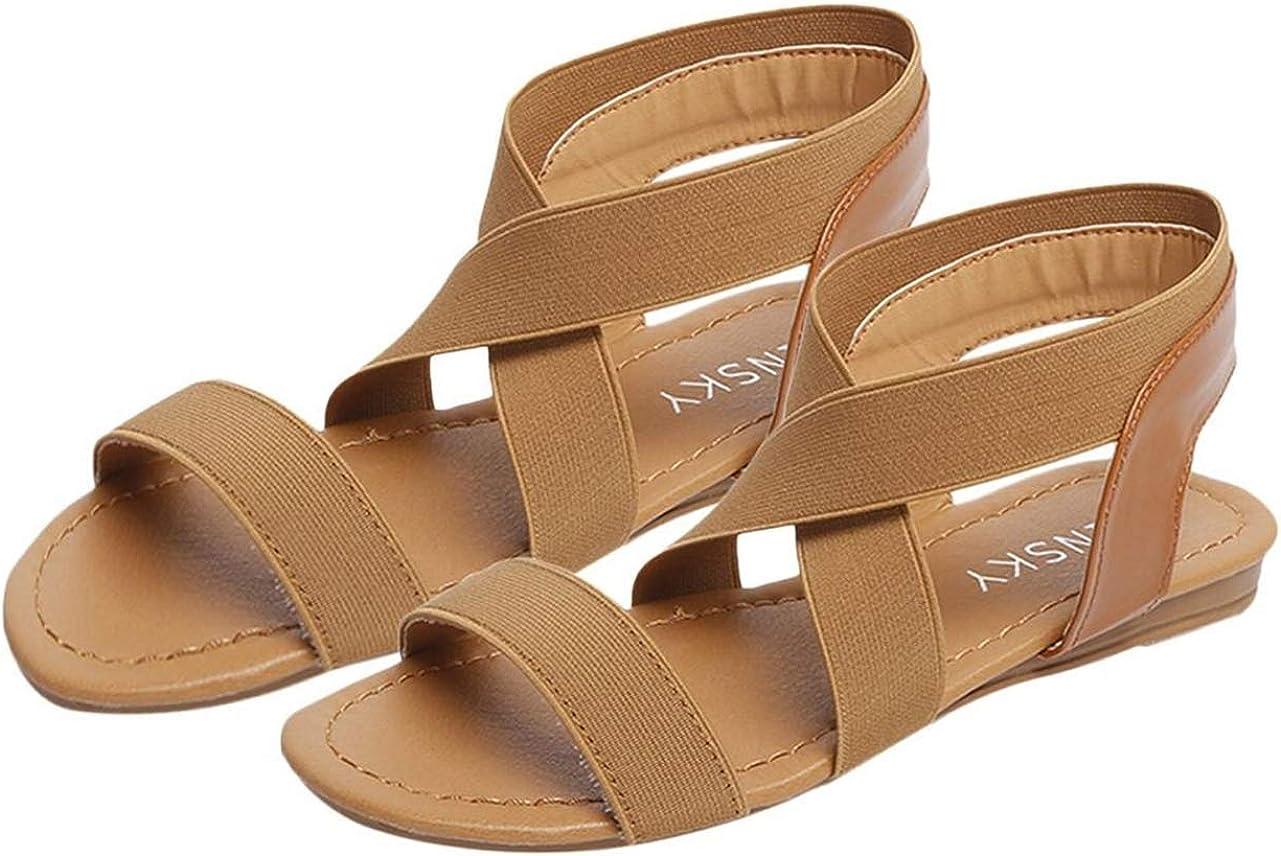 Women Cross Strap Sandals Open-Toe Outdoor Casual Beach Shoes Low Heel Flips Flops Slip-on Flats Brown