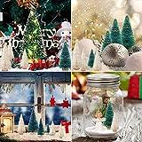 LOVEXIU Mini Weihnachtsbaum Deko,24 StüCk Miniatur Weihnachtsbaum KüNstlicher,Winter Ornamente Mini Modell Weihnachtsbaum Mini Tannenbaum füR Weihnachtsfeier Tischdeko,DIY,Schaufenster (GrüN/Weiss) - 6