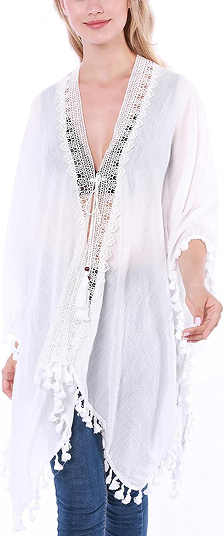 Women's Crochet Chiffon Tassel Swimsuit Beach Lace Bikini Cover Ups for Swimwear