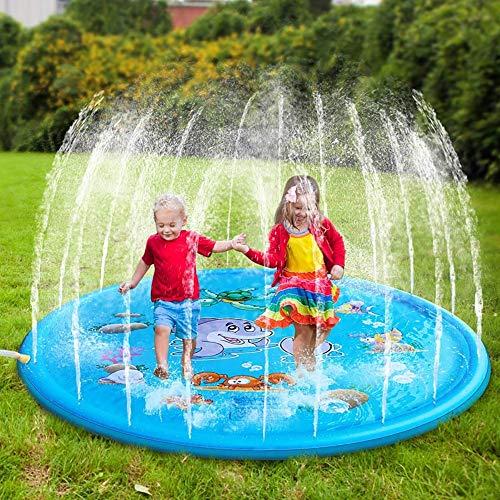 Lzcaure Alfombrilla de aspersor para piscina de PVC para niños, césped y playa, juguete de agua, para verano, para niños, para exteriores, color C1, tamaño: 100 x 100 cm
