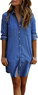Women's Long Sleeve Blouse Dress Button Down T-Shirt Chambray Cotton Shirt with Pockets A-Light Blue Large