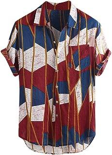 Mens Multi Color Lump Chest Pocket Short Sleeve Round Hem Loose Shirts Blouse