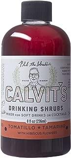 Calvit's Shrubs - TOMATILLO/TAMARIND with Hibiscus - Handmade drinking vinegar mixer for soft drinks or craft craft cocktails (8 oz)