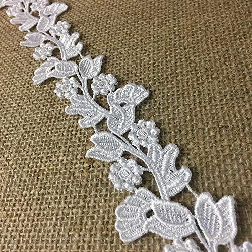 2' White Floral Bridal Lace Trim; Bridal Strap, Border Trim, Beautiful (14.5, White) - Amore Fabrics