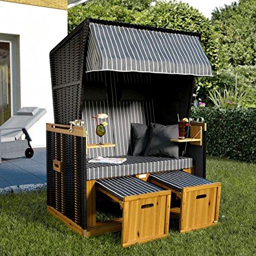 Sanzaro Strandkorb XL120 cm Deluxe Zweisitzer Holz und Poly-Rattan Volllieger 4 x Kissen klappbare Rückenlehne 2 Personen Grau Nadelstreifen - 2