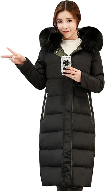 BVOWEU Women Thicke Down Jackets Down Coat Women Large Hooded Fur Collar Down Jacket