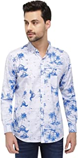 Nick&Jess Mens Light Blue Printed Cotton Casual Slim Fit Button Down Shirt