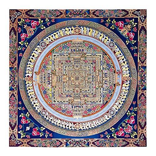Z.L.FFLZ Tibetisch Tibetanische buddhistische Thangka Mandala Tibet buddhistische Freskoling-Raumdekoration (Color : D, Size (Inch) : 50x50cm No Frame)