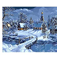 大人と子供のためのマンバーキットによるアクリル絵の具雪のシーンペイントキャンバスアクリル油絵クリスマスギフト家の装飾40X50cm /フレームなし