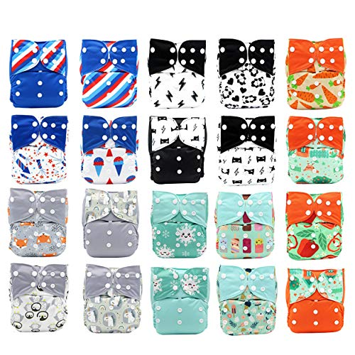 Best Seller! KaWaii Baby 20 One Size Printed Snap Cloth Diaper...