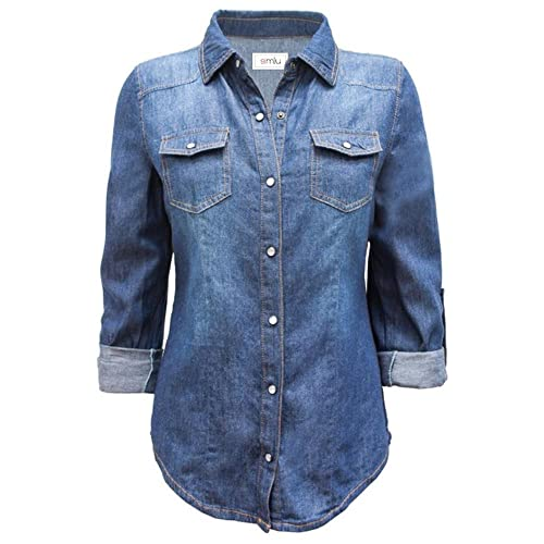 bddb374533d Long Sleeve Denim Button Down Shirt Slim Fit Blouse