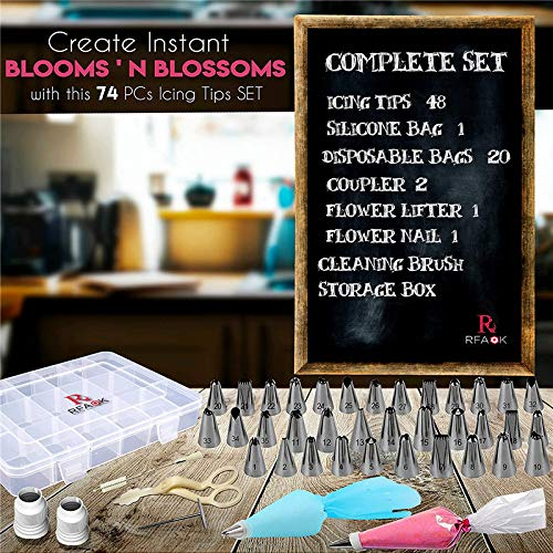 74 PCs Piping Bags and Tips-48 Numbered Piping Tips & Pastry bags with Pattern Chart & EBook- Flower Lifter &Nail, Frosting Icing tips, Cupcake Cookie Cake decorating tips supplies kit & baking tools