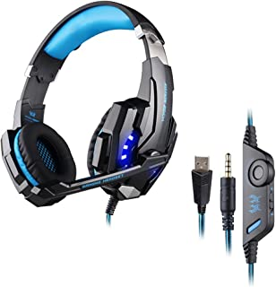 Homyl Surround Sound Stereo Headset Headphone with Noise Canceling Mic & LED Light, Compatible with PC, PS4, Xbox One Controller for Tablet Phone Games Blue