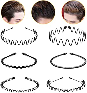 Hair Hoop,6Pcs Unisex Wavy Headband Metal Hair Hoop Multi-style Wave Spring Headband Wavy Comb Hair Band Accessories for Men and Women Black