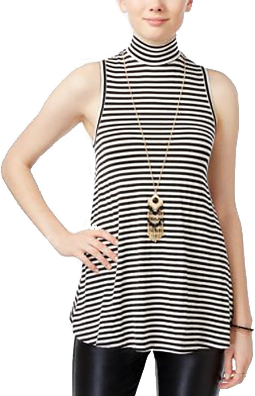 BCX Womens Striped Sleeveless Casual Top B W XL