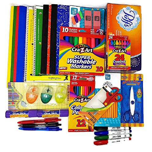 Elementary Back to School Bundle with Notebooks, Pencils, Markers, Ink Pens, Crayons, Sharpeners, Highlighter, Folders, Scissors, Tissue, Glue Sticks and Erasers| (23 Items)