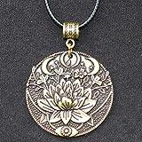 REHON Collar Vikingo Flor Nórdica Luna Mandala Colgante Runa Collar Colgante Collar Vikingo Símbolo Colgante Joyas,Copper-Rope
