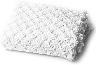 White Openwork Crochet Baby Blanket
