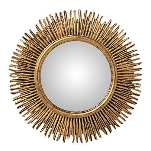 Espejo de Pared Redondo de Resina con Forma de Sol Dorado Ø58x3 cm INT ø30cm