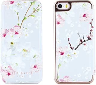 Ted Baker SS17 Folio Style Case for Apple iPhone SE in Rose Gold with Built in Mirror for Women/Girls - iPhone SE Case ANA - Oriental Blossom