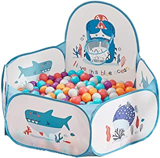 LIUFS-Playpen Ocean Ball Indoor Home Children's Toys Colorful Bubble Wave Ball Game Pool Fence Thickened Pressure Resistance Diameter 6.5CM (Color : 200 Balls+Blue Ball Pool)