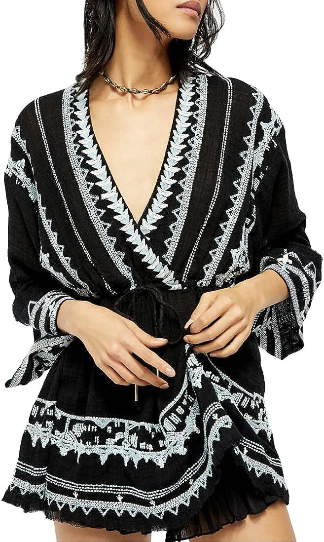 Free People Saffron Embroidered Tunic - Black, Medium