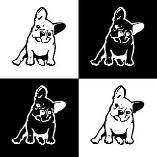 MAXGOODS 4 Pezzi Adesivo Murale in Vinile Cane Bulldog Francese//Animale Domestico per Auto Camion Adesivo da Parete per Finestre Decalcomania Portatile Bianco e Nero