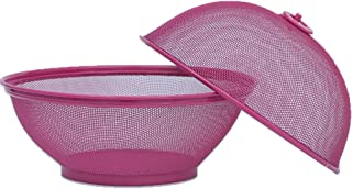 Agyvvt Mesh Fruit and Vegetable Basket Round with Food Cover Net Keep Out Flies for Outdoor Picnic Kitchen Storage Dining Table Decoration Collecting Box (Rose Red)