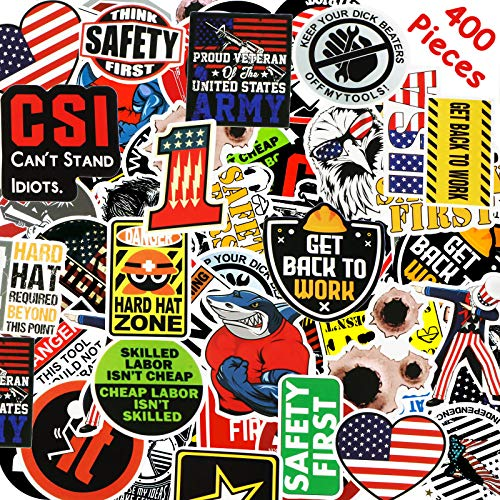 Hard Hat Stickers Tool Box Sticker Helmet Stickers Funny Decals for Worker Construction Electrician Oilfield Fire Crew Mechanic Laptop Luggage Bicycle Stickers (400 Pieces)