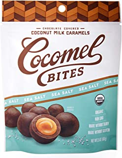 Cocomels Chocolate Sea Salt Cocomel Bites, Organic, Dairy Free, Vegan, Gluten Free, Non-GMO, No High Fructose Corn Syrup, Kosher, Plant Based, (1 Pack)