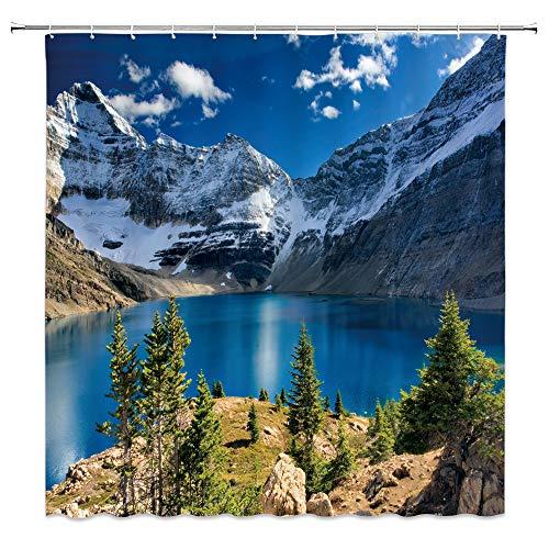 "XZMAN Mountain Scenic Shower Curtain Nature Mountain Lake Blue Sky White Cloud Landscape Print Simple Home Fabric Bath Curtain Bathroom Decor Set Include Hooks,(70"" WX70 H)"