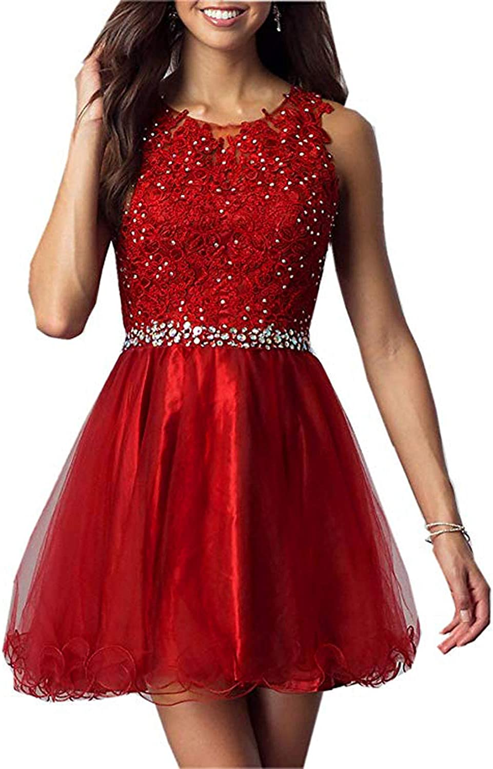 CIRCLEWLD Jeweled Aplliques Short Homecoming Dresses Seniors Prom Tutu Ballgown Sweet 16 H375