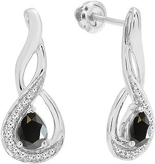 10K Ladies Infinity Drop Earrings, White Gold